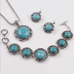 Jewelry - Silver Plated & Turquoise Necklace, Earrings Set